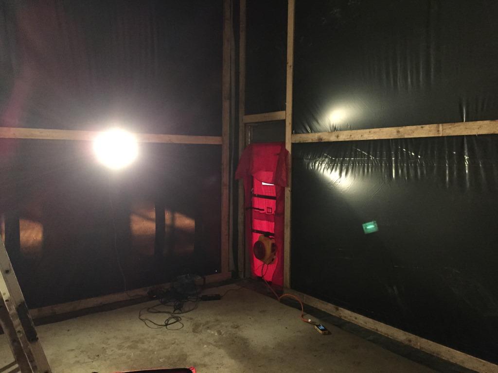 binnenzijde tijdelijke testruimte luchtdichtheidsmeting